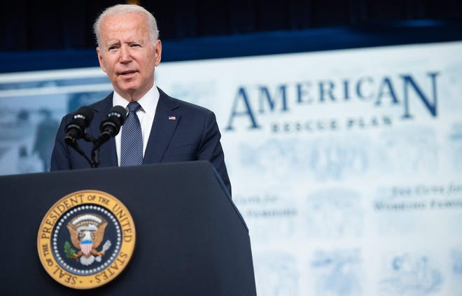 US President Joe Biden promotes the US rescue plan at an event at the Eisenhower Executive Office Building in Washington, DC, July 15, 2021.
