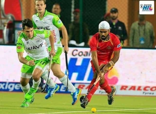Simranjeet during the Hockey India League (HIL) 2017