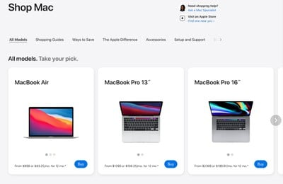 Apple Store redesign mac section