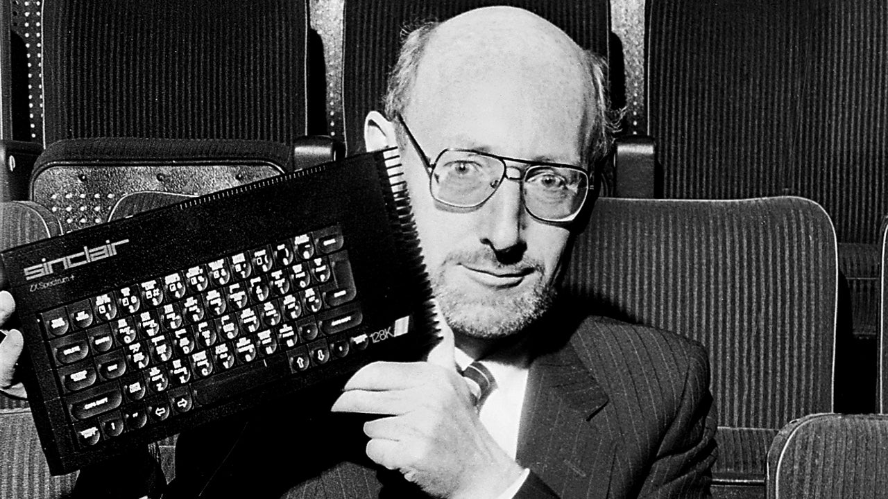 Sir Clive Sinclair, holding his ZX Spectrum. (Image Credit: Dick Barnatt/Getty Images)